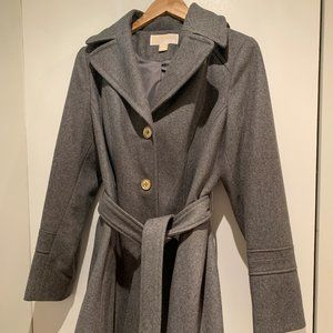 Michael Kors Hooded Belted Walker Coat – Gray – 10
